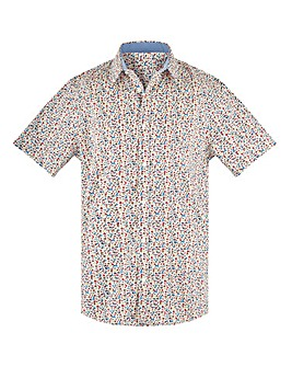 Small Print Short Sleeve Formal Shirt