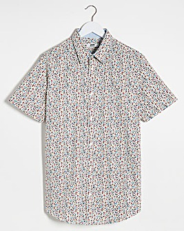 Small Print Short Sleeve Formal Shirt Long