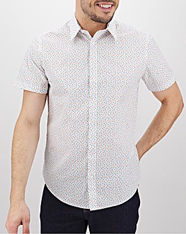 White Print Short Sleeve Formal Shirt