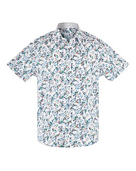 White Print Short Sleeve Formal Shirt Long