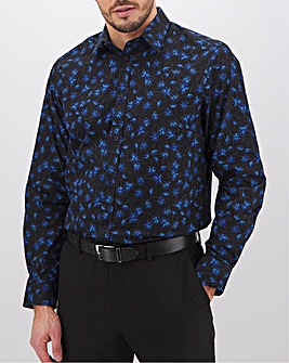 Navy Floral Formal Shirt Long