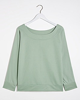 Sage Green Off The Shoulder Sweatshirt