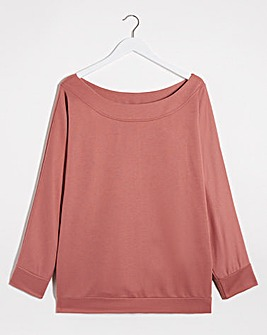Dusky Pink Off The Shoulder Sweatshirt
