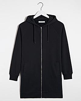 Black Longline Zip Hoodie