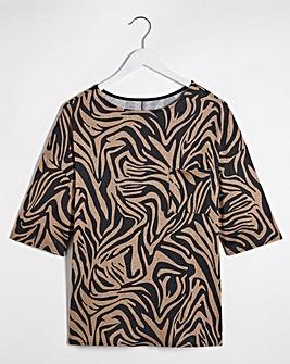 Zebra Print Soft Touch Pocket T-Shirt