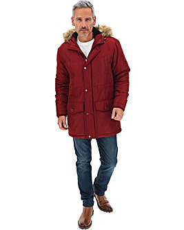 Burgundy Faux Fur Trim Parka