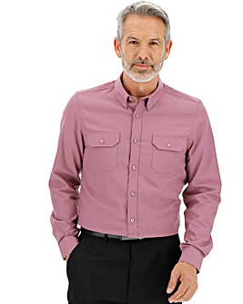 Dusky Pink L/S Military Oxford Shirt