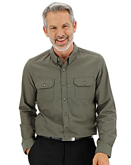 Khaki Military Oxford Shirt Long