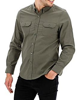 Khaki Long Sleeve Military Oxford Shirt Long