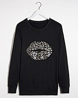 Leopard Print Lip Sweatshirt