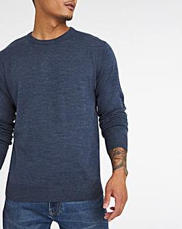 Denim Marl Acrylic Crew Neck Sweater