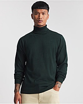 Forest Green Acrylic Roll Neck Jumper
