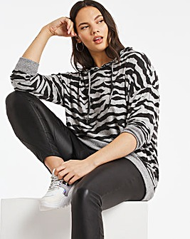 Zebra Print Soft Touch Cowel Sweatshirt