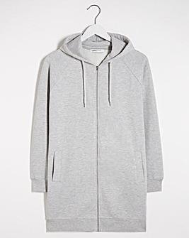 Grey Marl Longline Zip Hoodie