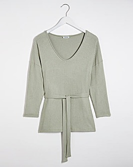 Sage Super Soft Ribbed Tie Waist Tunic