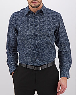 Navy Print Long Sleeve Formal Shirt Long
