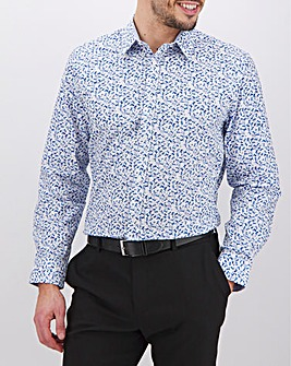 White Print Long Sleeve Formal Shirt Long