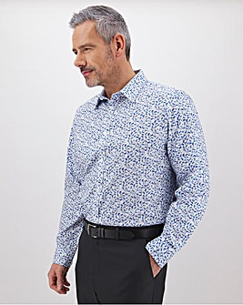 White Print Formal Shirt Long