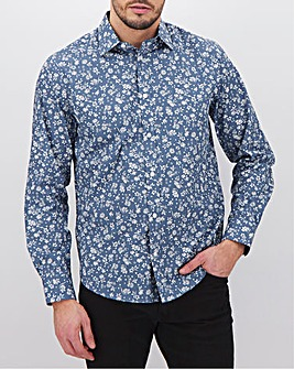 Denim Floral Long Sleeve Formal Shirt Long
