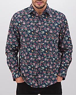 Navy Floral Long Sleeve Formal Shirt