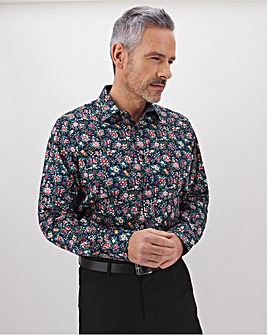 Navy Floral Long Sleeve Formal Shirt Long