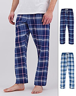 Blue/Navy 2 Pack Long Pyjama Bottoms