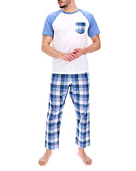 Blue Check Woven Bottom Pyjama Set