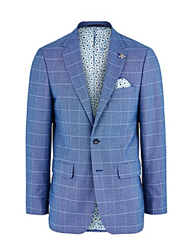 Blue Check Delta Regular Fit Suit Jacket