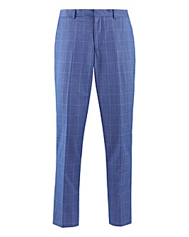 Blue Check Delta Regular Fit Suit Trousers