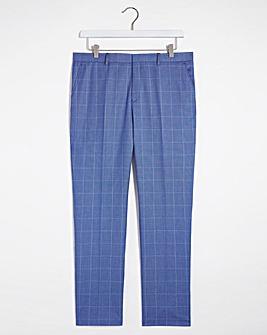 Blue Check Delta Regular Fit Suit Trousers