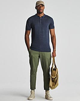 Denim Marl Acrylic Short Sleeve Polo