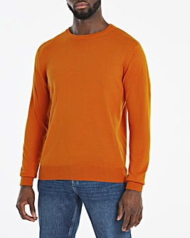 Rust Crew Neck Acrylic Jumper Long