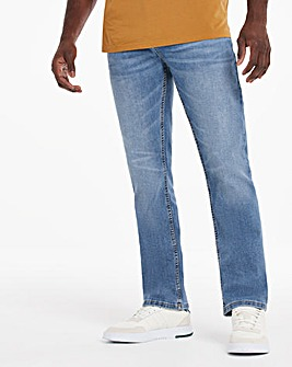 Light Stonewash Straight Fit Stretch Jeans