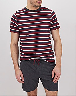 Red Stripe T-Shirt and Short Lounge Set
