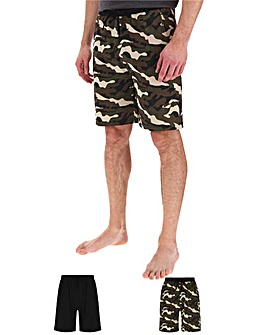 Black/Camo 2 Pack Jersey Shorts