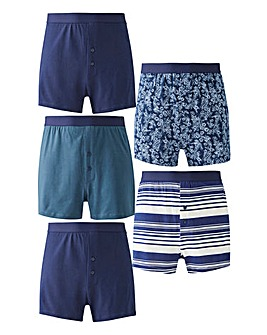 Pack of 5 Navy Print Loose Fit Boxers
