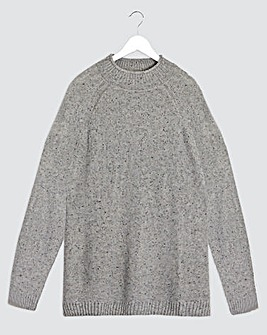 Grey Nep Raglan High Neck Jumper