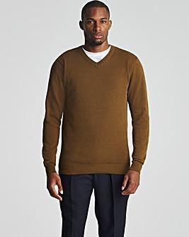 Tan Cotton V Neck Sweater Long