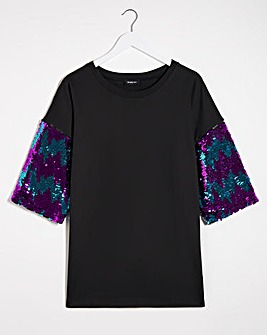 Black Sequin Sleeve Sweatshirt Tunic