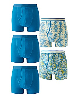 Pack of 5 Teal Print A-Fronts