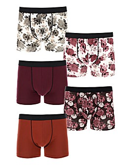 Pack of 5 Dark Floral Hipsters