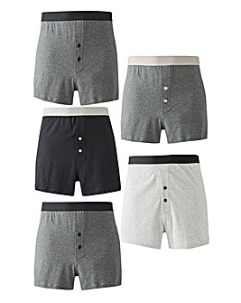 Pack of 5 Grey Mix Loose Fit Boxers