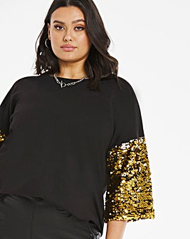 Black and Gold Sequin Sleeve Sweatshirt Tunic