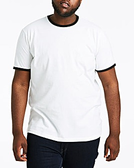 White Ringer Crew Neck T-shirt Long
