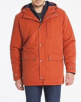 Red Hooded Fleece Lined Jacket