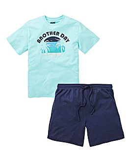 Mint/Navy Paradise Slogan Short PJ Set