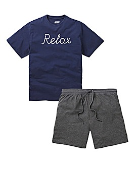 Navy/Grey Relax Slogan Short PJ Set