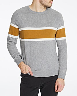 Grey Stripe Front Crew Neck Jumper