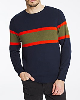 Navy Stripe Front Crew Neck Jumper