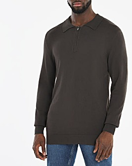 Charcoal Long Sleeve Knitted Polo Jumper